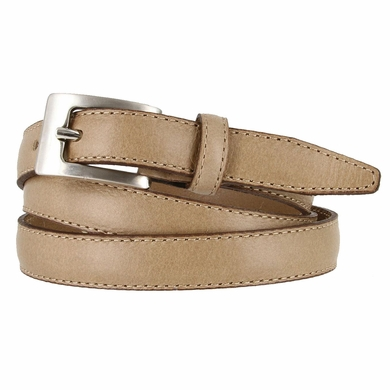 "2509/19 Stitched Women's Skinny 3/4""  Genuine Leather Dress Belt Made in Italy (Taupe)"