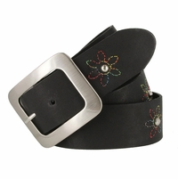 "2522/38 Women's 1-1/2"" Genuine Leather Belt With Flower Decorations (Black)"