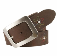 "2522/38 Women's 1-1/2"" Genuine Leather Belt With Flower Decorations (Dark Brown)"