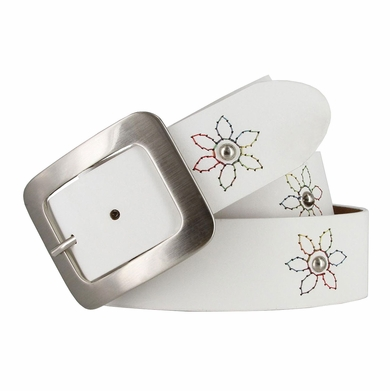 "2522/38 Women's 1-1/2"" Genuine Leather Belt With Flower Decorations (White)"