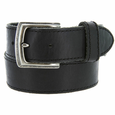 "Made In Italy Men's Full Grain Leather Casual Jean Belt 1-1/2"" wide - Black"