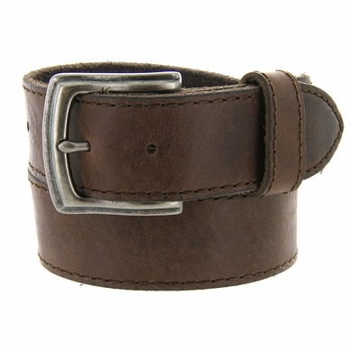 "Made In Italy Men's Full Grain Leather Casual Jean Belt 1-1/2"" wide - Brown"