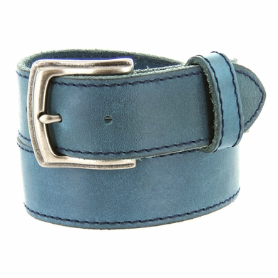 "Made In Italy Men's Full Grain Leather Casual Jean Belt 1-1/2"" wide - Navy"