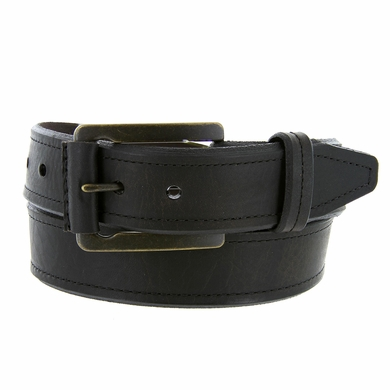 Made in USA Genuine American Bison Leather Bevel Edge Casual Jean Belt