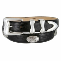 "Meadow Lark Men's Italian Calfskin Leather Dress Conchos Belt 1-1/8"" Wide"