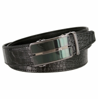 Men's Alligator Embossed Leather Belt Sliding Buckle 35mm wide Ratchet Belt - Black