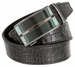 Men's Alligator Embossed Leather Belt Sliding Buckle 35mm wide Ratchet Belt - Black1