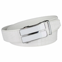Men's Alligator Embossed Leather Belt Sliding Buckle 35mm wide Ratchet Belt - White