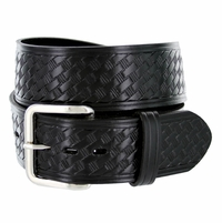 "Men's Basketweave Work Uniform Leather Belt 1-3/4"" Wide - Black"