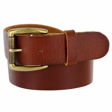 "Men's Brass Roller Buckle One Piece Full Leather Casual Jean Belt 1-1/2"" wide"