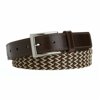 Men's Casual Woven Polyester and Leather Braided Beige and Brown L13342