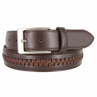 "Men's Crossweaved Genuine Leather Woven Laced BraidedDress Casual Belt 1-3/8"" (35mm) wide - Brown"