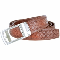 Men's Diamond Pattern Sliding Buckle Genuine Leather Ratchet Belt (35mm) - Brown
