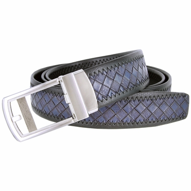 Men's Diamond Pattern Sliding Buckle Leather Ratchet Belt (35mm) - Navy