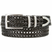 "Men's Three Holes Braided Woven Leather Belt 1-3/8"" wide - Black"