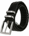 "Men's Three Holes Braided Woven Leather Belt 1-3/8"" wide - Black2"