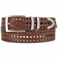 "Men's Three Holes Braided Woven Leather Belt 1-3/8"" wide - Tan"