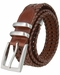 "Men's Three Holes Braided Woven Leather Belt 1-3/8"" wide - Tan2"