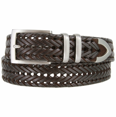"Men's Three Holes Braided Woven Leather Belt 1-3/8"" wide - Brown"