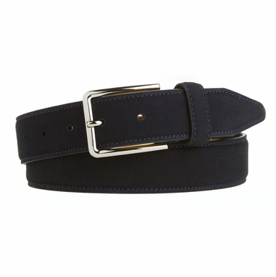 Men's Dress Casual Cashmere Suede Belt Made in the USA Navy F55BX105