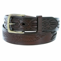 Men's Eagle Embossed Braided Genuine Leather Casual Jean Belt - Brown