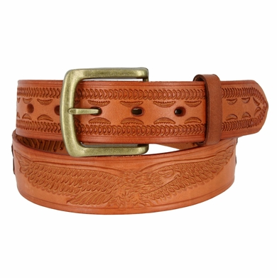 Men's Eagle Embossed Braided Genuine Leather Casual Jean Belt - Tan