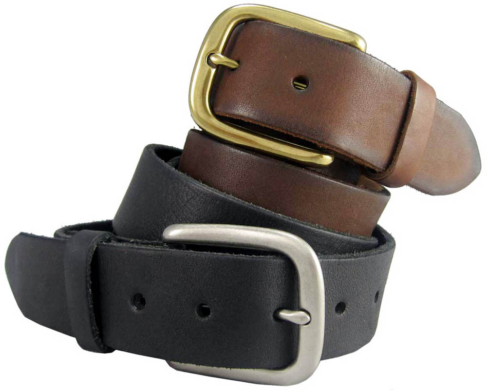 "Black Brown Tan Men/'s Full Grain Cowhide Leather Casual Jean Belt 1-1//2/"" Wide"