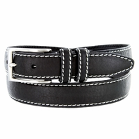 "Men's Genuine Bison Leather Dress Belt-Black 1-1/8"" wide"