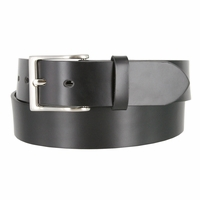 "Men's Leather Casual Belt 1-1/2"" (38mm) wide with Nickel Plated Buckle - Black"