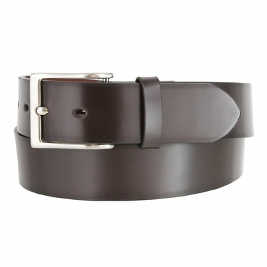 "Men's Leather Casual Belt 1-1/2"" (38mm) wide with Nickel Plated Buckle - Brown"