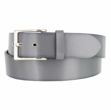 "Men's Leather Casual Belt 1-1/2"" (38mm) wide with Nickel Plated Buckle - Gray"