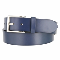 "Men's Leather Casual Belt 1-1/2"" (38mm) wide with Nickel Plated Buckle - Navy"