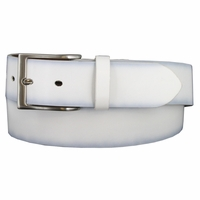 "Men's Leather Casual Belt 1-1/2"" (38mm) wide with Nickel Plated Buckle - White"