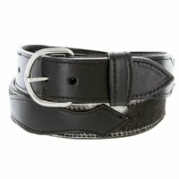 Men's Horse Hair On Genuine Leather Casual Jean Belt - Black
