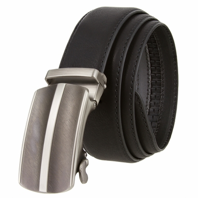 "Men's Gunmetal Middle Line Buckle Ratchet Leather Belt 1 3/8"" (35mm)"