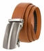 "Men's Gunmetal Middle Line Buckle Ratchet Leather Belt 1 3/8"" (35mm)4"