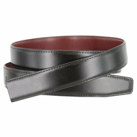 "Men's Reversible Genuine Leather Dress Casual Belt Strap 1-1/8"" (30mm) wide - Black/Burgundy"
