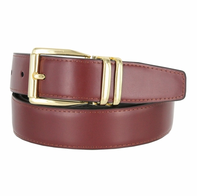 "4010D-GP-2406 Men's Reversible Genuine Leather Dress Casual Belt 1-1/8"" (30mm) wide - Black/Burgundy"