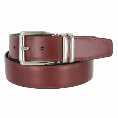 "4010D-NP-2406 Men's Reversible Genuine Leather Dress Casual Belt 1-1/8"" (30mm) wide - Black/Burgundy"