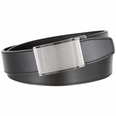 Men's Smooth Leather Belt Automatic Buckle 35mm wide Belt - Black
