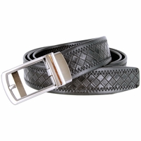 Men's Diamond Pattern Sliding Buckle Genuine Leather Ratchet Belt (35mm) - Black