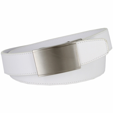 Men's Smooth Leather Belt Sliding Buckle 35mm wide Ratchet Belt - White