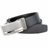 Men's Stipple Pattern Polished Gunmetal Sliding Buckle Genuine Leather Ratchet Belt (35mm) - Black