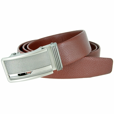 Men's Stipple Pattern Polished Gunmetal Sliding Buckle Leather Ratchet Belt (35mm) - Brown