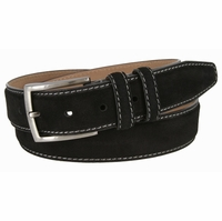 "Men's Suede Leather Dress Belt 1-3/8"" Wide - Black"