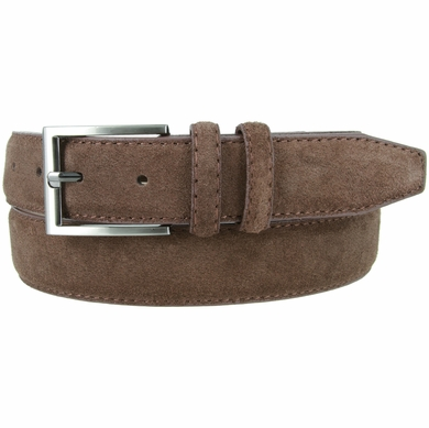 "Men's Suede Leather Dress Belt 1-3/8"" Wide - Brown"