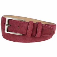 "Men's Suede Leather Dress Belt 1-3/8"" Wide - Burgundy"