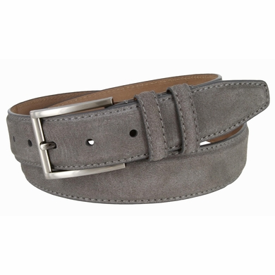 "Men's Suede Leather Dress Belt 1-3/8"" Wide - Gray"