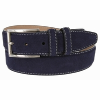 "Men's Suede Leather Dress Belt 1-3/8"" Wide - Navy"