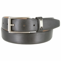 "Men's Synthetic Double Lined Edges Pebbled Leather Casual Dress Belt 1-1/4"" Wide"